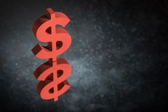 Red US Currency Symbol or Sign With Mirror Reflection on Dark Dusty Background stock photography