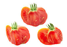 Red American ribbed tomato slice set Stock Photos