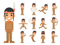 Red American Traditional Native Tribal Culture Feather Indian Boy in Different Poses and Actions Teen Characters Icons Royalty Free Stock Photos
