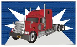 Trailer with callout. Red american trailer with clean fotnote on blue background stock illustration