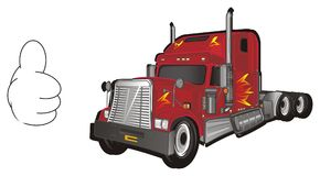 Trailer and gesture. Red american trailer with hand and gesture cool vector illustration
