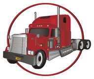 Trailer and red sign. Red american trailer peek up from circle red road sign royalty free illustration