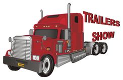 Trailers show with cars. Red american trailer with red inscription trailers show Stock Photo