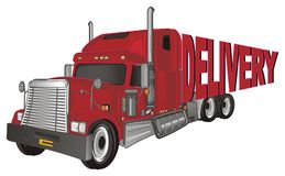Red trailer and word. Red american trailer with red word delivery on a white background vector illustration