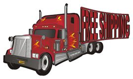 Trailer and shipping. Red american trailer with red words free shipping royalty free illustration