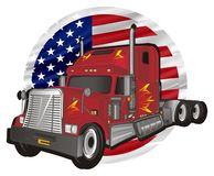 Trailer and circle flag. Red american trailer with round USA flag stock illustration