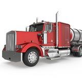 Red american truck with big cistern isolated on white. 3D illustration Royalty Free Stock Image