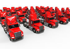 Red American Truck fleet Stock Photos