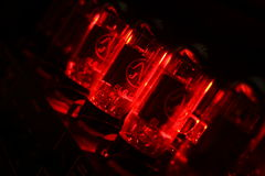 Red amplifier valves Royalty Free Stock Image