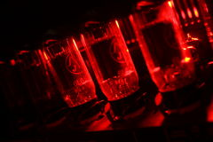 Red amplifier valves Stock Photo