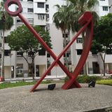 The red anchor at the roundabout pick up point at Royalty Free Stock Photography