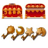 Red ancient chest with different Golden keys. Secret box for treasure. Vector illustration isolated vector illustration