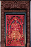 Red ancient door with door keeper at Prachuap khiri khan Lak Mueang Stock Photography