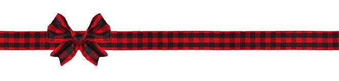 Free Red And Black Buffalo Plaid Christmas Gift Bow And Ribbon Long Border Isolated On White Royalty Free Stock Image - 163868466
