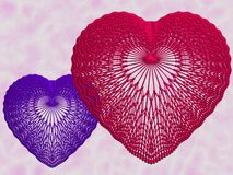 Red And Blue Lace Hearts Royalty Free Stock Images