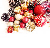 Red And Golden Christmas Gifts And Glitter Globes Decoration Stock Image