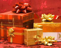 Red And Golden Gift Boxes Royalty Free Stock Image