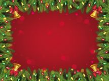 Free Red And Green Christmas Background - Decorated Pine Tree Branches Rectangle Frame Stock Photo - 161454070
