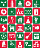 Red And Green Christmas Icons Royalty Free Stock Photos