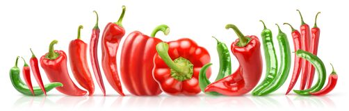 Free Red And Green Peppers Of Different Shapes Stock Photo - 186975210