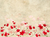 Red And Pink Blossom Print On Ribbed Parchment Stock Photos
