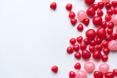 Free Red And Pink Valentine Candies On Right Side Of White Background Royalty Free Stock Image - 109420346