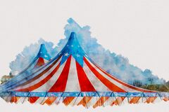 Free Red And White Circus Tent Watercolor Painting Royalty Free Stock Image - 181758966