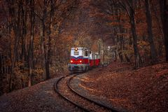 Free Red And White Diesel Train Coming. Stock Image - 163155471