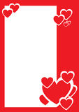 Red And White Hearts, Decorative Border Royalty Free Stock Image