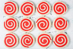 Red And White Pinwheel Cookies Royalty Free Stock Photos