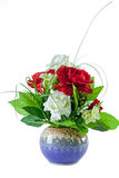 Red And White Roses In Vase Royalty Free Stock Photo