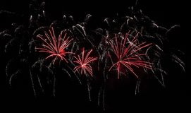 Free Red And White Sizzling Fireworks Stock Images - 142560814