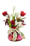 Red And White Tulips In Glass Vase Stock Image