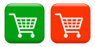 Red anf green shopping basket sign Stock Photography