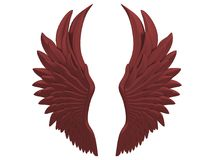 Red angel wings isolated on a white background 3d rendering. With red details Stock Photography