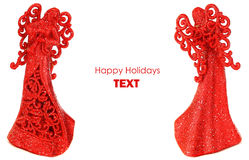 Red angels Christmas border Royalty Free Stock Photo