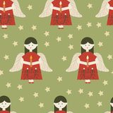 Red angels on green background seamless pattern vector illustration