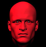 Red with anger. Man with fiery eyes, red with anger. 3d illustration Stock Images