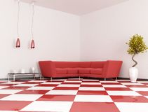 Red angle sofa Stock Images