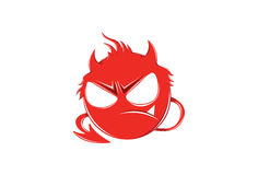 Red Angry Devil Emoticon with devil tail  on white for Mobile and Web Stock Photography