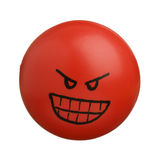 Red angry face ball isolated on white background Stock Image