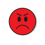 Red Angry Sad Face Negative People Emotion Icon. Flat Vector Illustration Stock Images