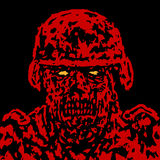Red angry zombie soldier cover. Vector illustration. Royalty Free Stock Image