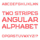 Red angular capital letters of two stripes. Fashion retro font. Isolated latin alphabet Royalty Free Stock Photography