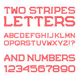 Red angular letters and numbers of two stripes. Stock Photography