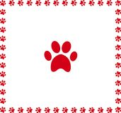 Red animal pawprint icon framed with paw prints. Square border isolated on black  background. Vector illustration, sign, symbol, icon, clip art Royalty Free Stock Images