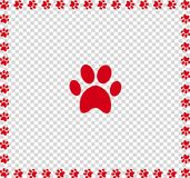 Red animals pawprint icon framed with paw prints square border. Isolated on transparent  background. Vector illustration, sign, symbol, icon, clip art, banner Royalty Free Stock Images