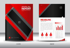 Red Annual report template,cover design,brochure fl yer,info gra Royalty Free Stock Photography