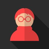 Red anonymous icon with long shadow. Isolated on black background. flat style modern design vector illustration Stock Photo