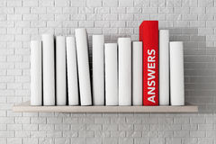 Red Answers Book on a shelf with another blank books Stock Photo
